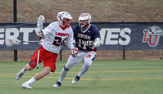 Kurt Tobias, shown in a March 29, 2014, game against Auburn at the Liberty Lacrosse Fields, used his size and speed to spark the Flames' fast-break attack. (Photo by Lizzy Benson) test test test test