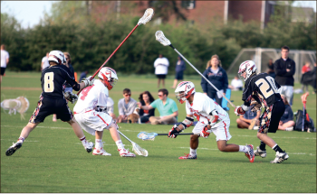 Measuring up- The men's lacrosse team posted a .500 record on the year, finishing 4-4 overall. Photo credit: Ruth Bibby