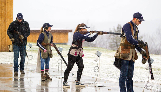 Flames and Lady Flames shooting sports team members practice on the shotgun range during the Dec. 8 meet-and-greet at the Liberty Mountain Gun Club. (Photo by Andrew Snyder) test test test test