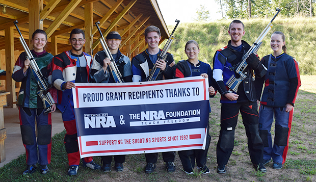 Rifle team members Kristen Gagne (from left), Mitchell Feaga, Susie Krupp, Michael Donoho, Katherine Gray, Jonathan Deane, and Jane Deane display the new Anschutz 9015 Club Air Rifles. test test test test