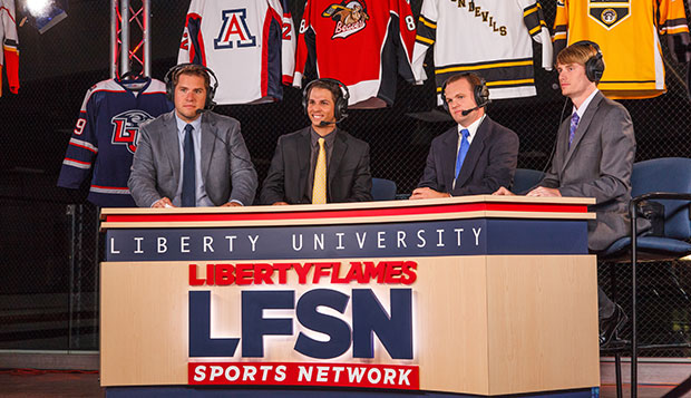Flames Hockey sports broadcaster Rett McGibbon (left) and moderator Devan Mello were joined by Ohio University's Kevin Noonan and Ryan Boyd for Tuesday night's ACHA Division I preseason show, aired live from the LaHaye Ice Center.  test test test test