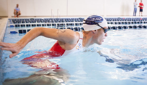 Joseph Anderson started second out of 93 triathletes in the LaHaye Student Union pool, based on his projected finish, and wound up winning his third consecutive event, Saturday on the campus of Liberty University.  test test test test