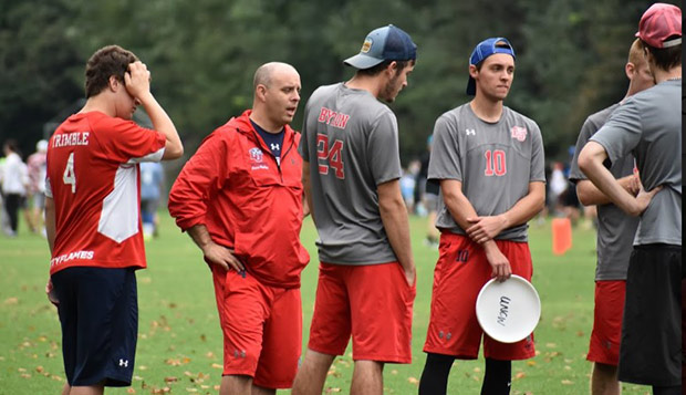 Liberty Head Coach Brendan Phillips addresses his players in a huddle last month at NC State. test test test test