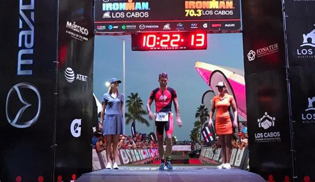 Parker Spencer crosses the finish line after the most brutal race of his life, Sunday's Ironman Los Cabos in Mexico. test test test test