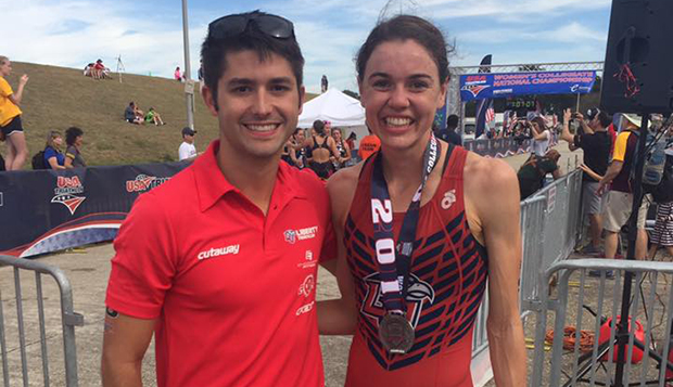 Triathlon Head Coach Parker Spencer poses with Megan Merryman after she placed sixth in the Nov. 5, 2016, NCAA Division I National Championships in New Orleans.  test test test test