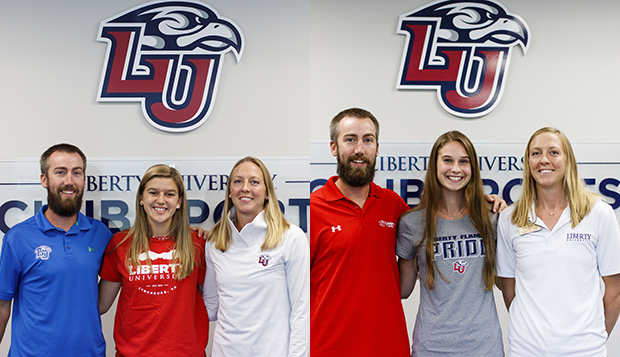 Liberty beach volleyball Head Coach Kaleb VanDePerre and Assistant Coach Jess Nelson joined Rylee Urban (left) and Sydnie Metzker for their signing days last fall. test test test test