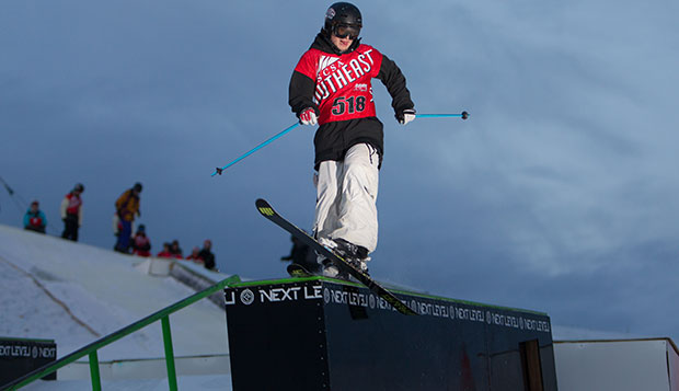Flames junior Tim Steltzer competes at the Liberty Mountain Snowflex Center at a Feb. 2 competition. He won Thursday's Big Air event before a crowd of close to 500 before placing 12th individually in Friday's men's slopestyle at Sun Valley, Idaho.  test test test test