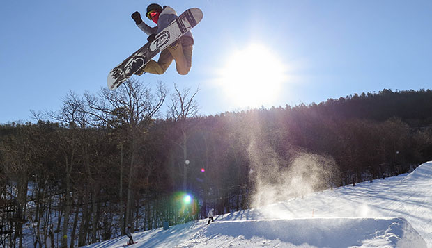 Liberty senior Isaac Gibson placed third overall in the men's slopestyle competition, Saturday at Massanutten Resort. test test test test