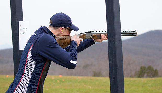 Junior Tommy Hartman tied for first overall Saturday with a 181 total in trap, skeet, and sporting clays. (Photos by Kevin Manguiob) test test test test
