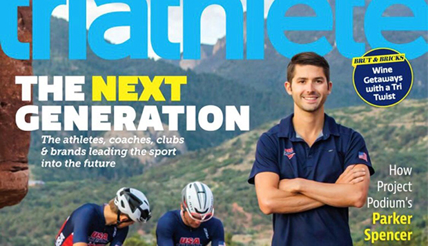 Parker Spencer, who coached at Liberty from 2014-18 after competing in track and triathlon through 2012, is featured on the September/October cover of 'Triathlete' magazine. test test test test