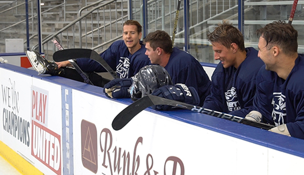 Prospective DI, II, and III men's hockey players take a break from Aug. 18-23 tryouts at the LaHaye Ice Center. (Photos by Hayden Robertson) test test test test