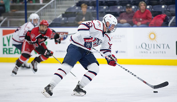 Liberty defenseman Zane Schartz made an immediate impact during his freshman season, scoring the Flames first goal in the renovated LaHaye Ice Center. test test test test