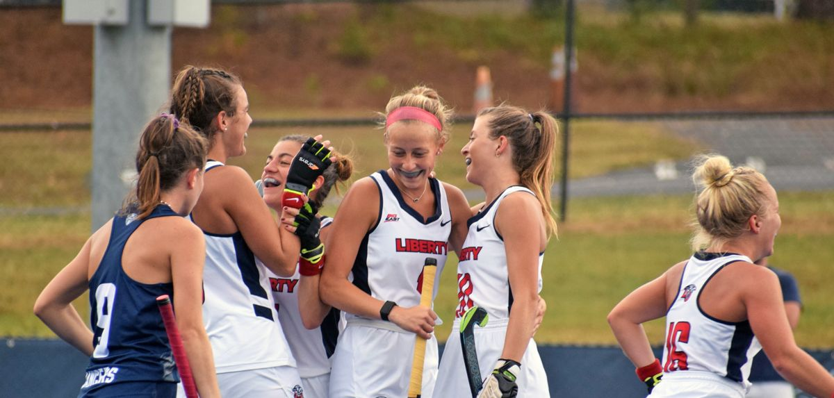 Fortenbaugh (left) scored twice in Liberty's 3-0 win at Longwood on Sunday afternoon.
