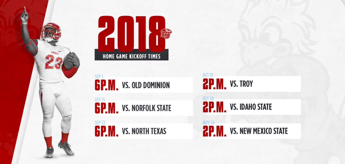 Liberty Announces 2018 Football Game Times