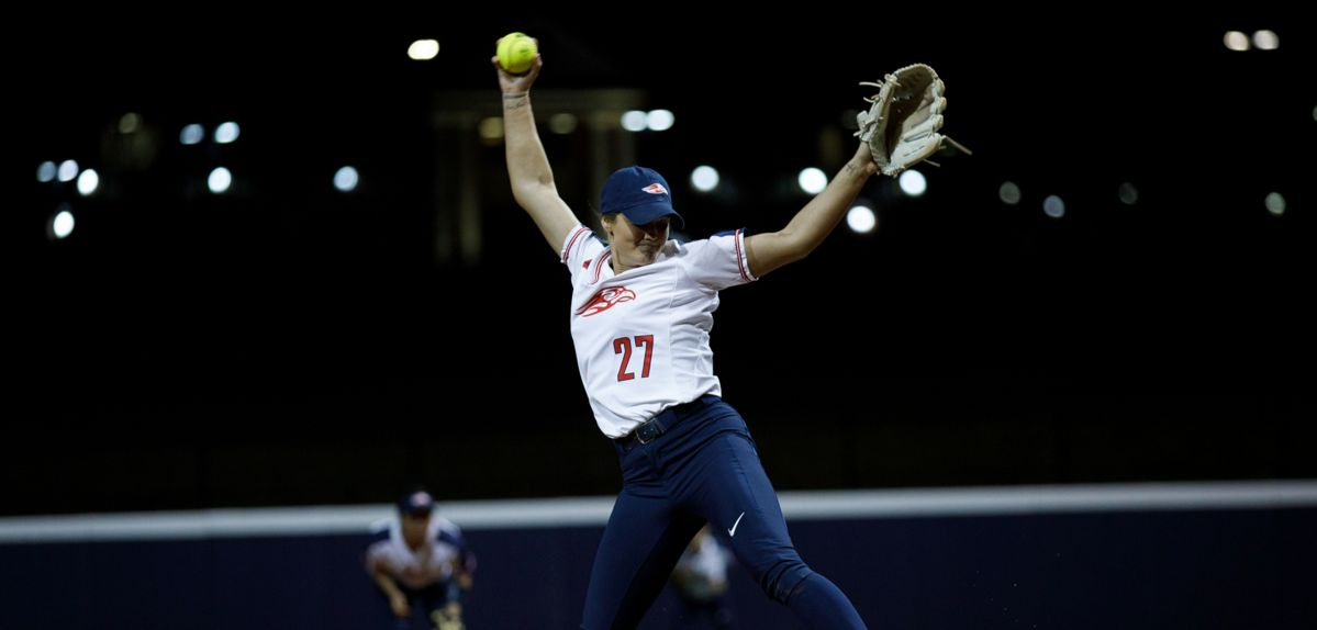 Julia DiMartino pitched the fourth perfect game in program history, Sunday vs. Princeton.