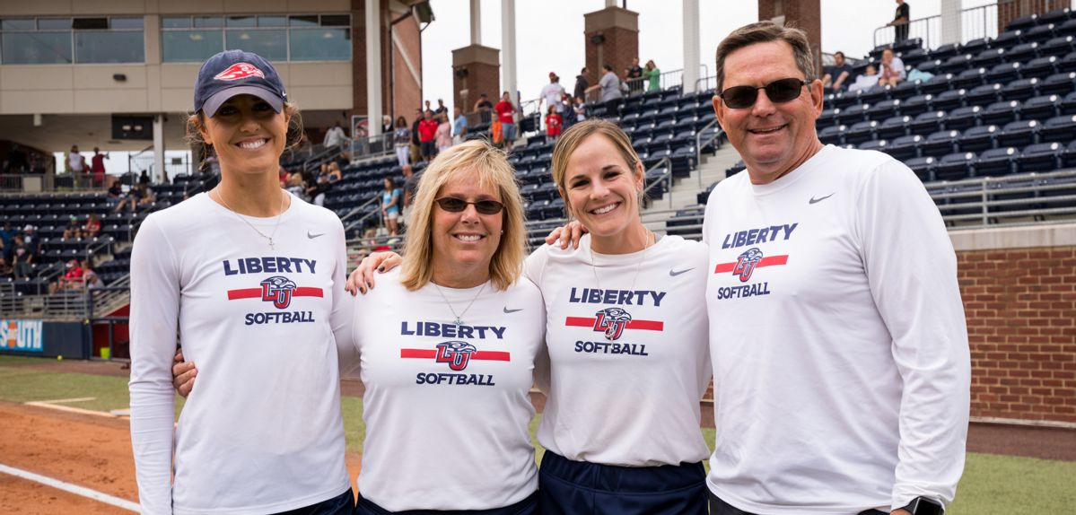 The Liberty softball coaching staff (L-R: Assistant Coach Kasey Fagan, Head Coach Dot Richardson, Assistant Coach Paige Cassady and Volunteer Assistant Coach John Cassady) was named NFCA Mid-Atlantic Regional Coaching Staff of the Year.