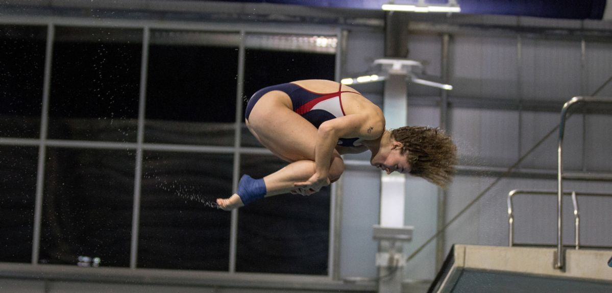 Abigail Egolf-Jensen won one-meter diving at Georgia Southern, earning her first NCAA Zone Qualifying Meet score.