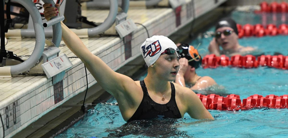 Hannah Baker swam on Liberty's winning 800 free relay and 200 medley relay on Wednesday at the CCSA Championships.