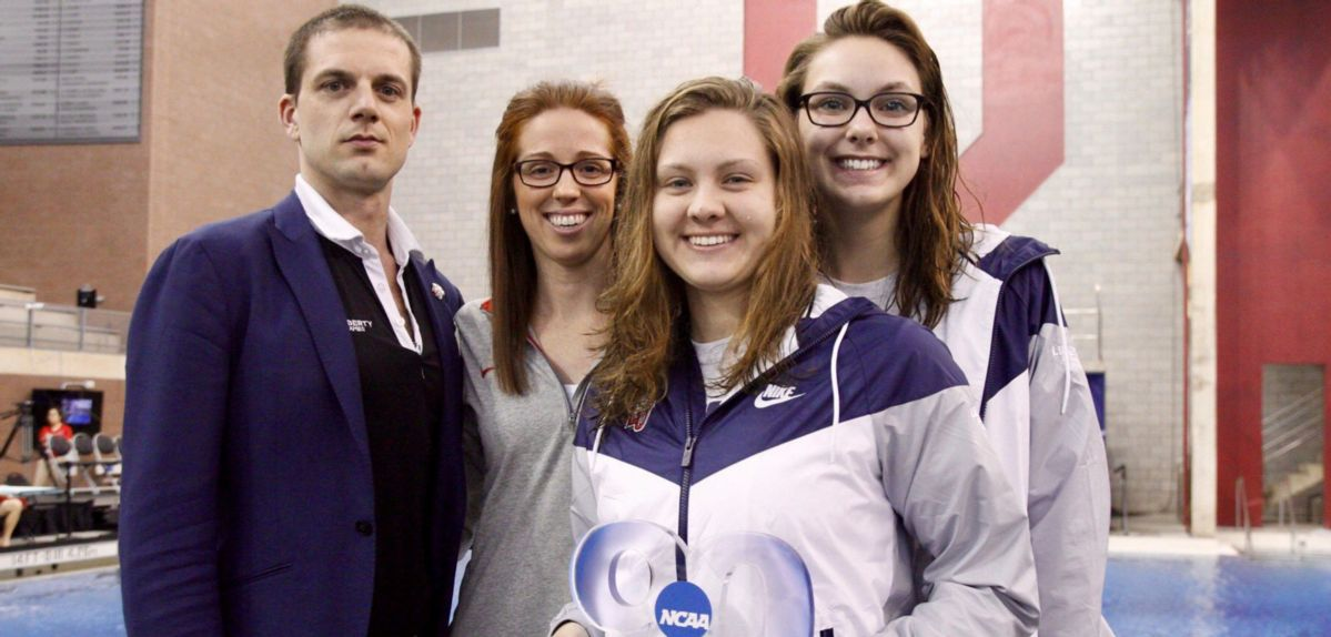 Alicia Finnigan (front) received the prestigious NCAA Elite 90 Award for the highest GPA among all participants at the 2018 NCAA Division I Women's Swimming & Diving Championships.