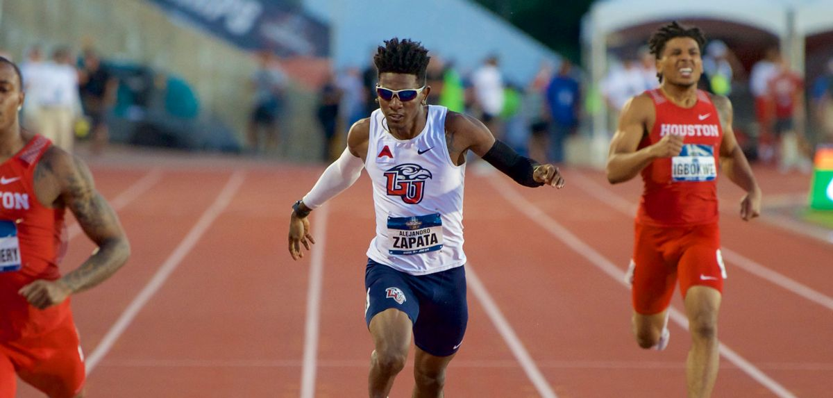 Alejandro Perlaza Zapata placed fifth in Friday's NCAA men's 400 dash final. (Photo by Pat Holleran)