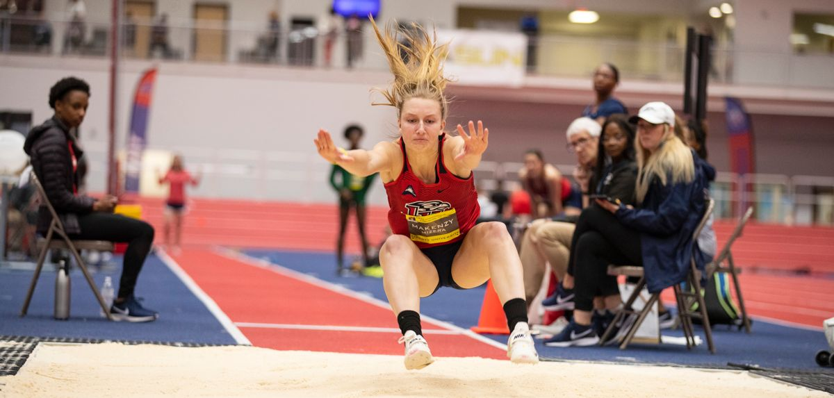 Makenzy Mizera triple jumped a school-record 41-10.75 for seventh place at the USATF Indoor Championships on Friday.