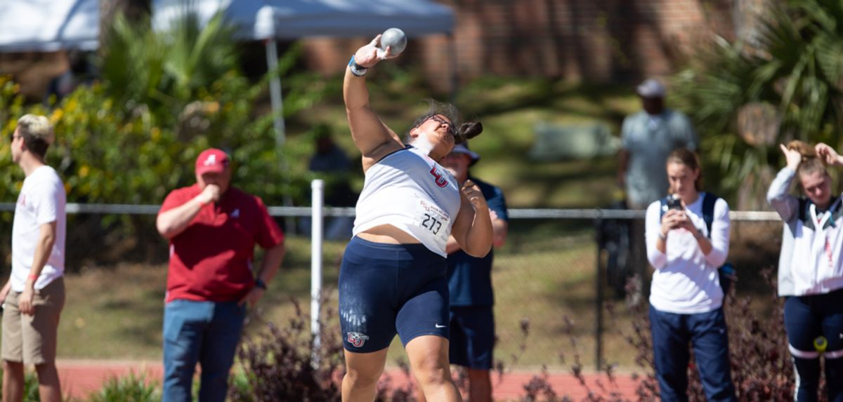 Naomi Mojica won the women's shot put with a new school-record mark of 52-3.75. (Photo by R. Taylor Jones)