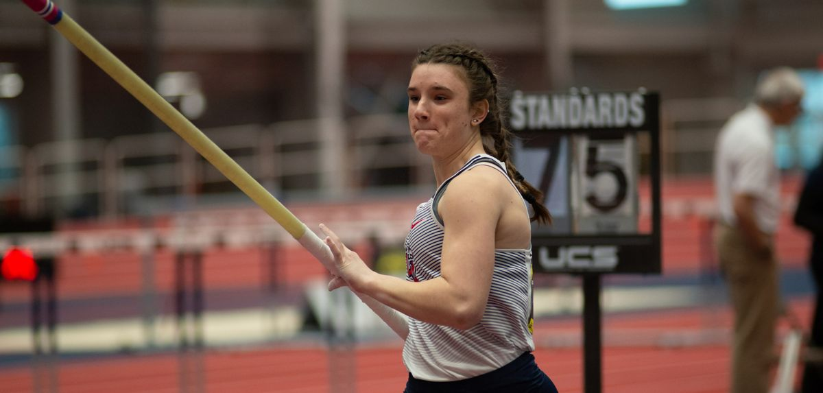 Taylen Langin's 12-11.5 clearance won the college women's pole vault and improved upon her own Liberty freshman record.