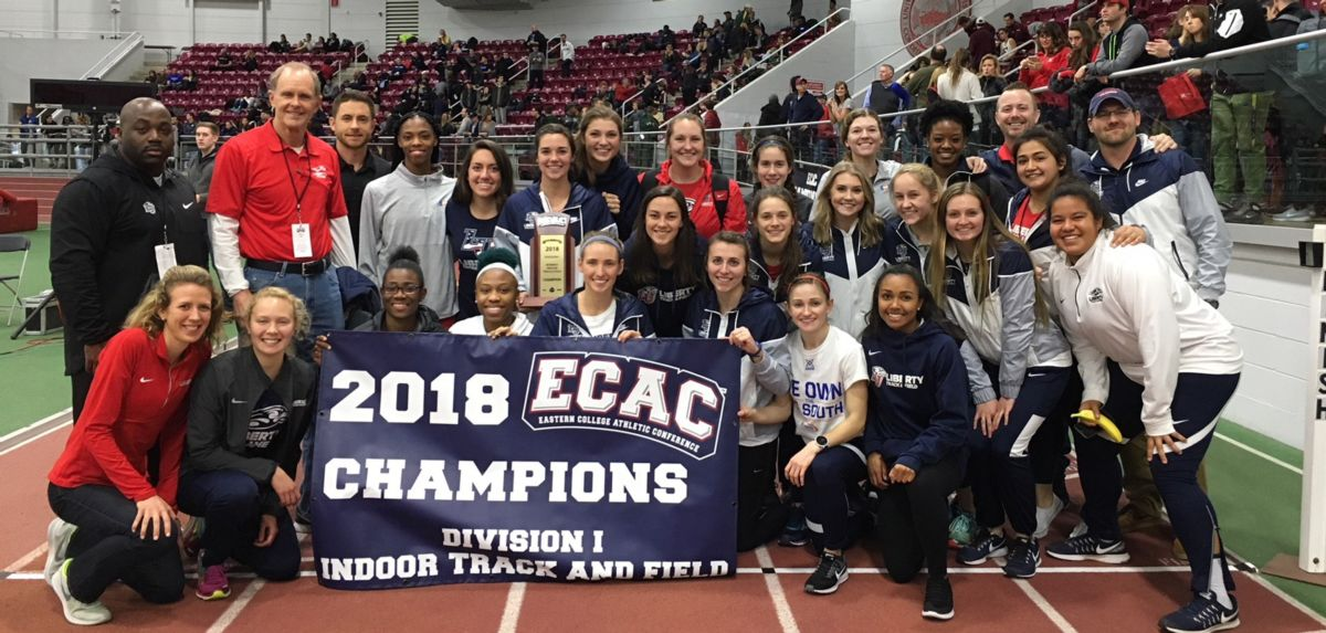The Lady Flames celebrate the first ECAC team championship in program history.