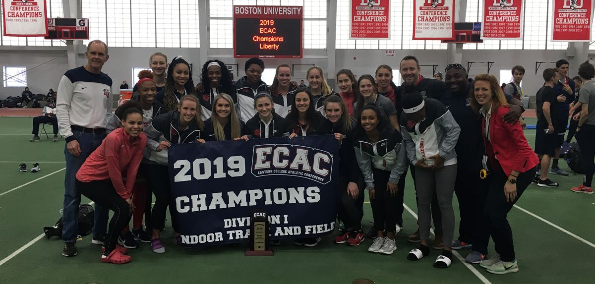 The Lady Flames celebrate their second straight ECAC team championship.