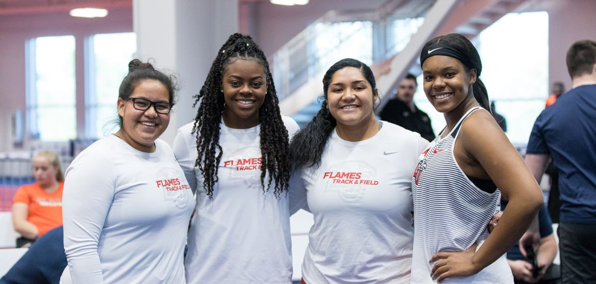 The Liberty women's weight throw crew of (L-R) Naomi Mojica, Chelsea Igberaese, Patria Vaimaona and Marvalyn Vernon scored 17 points on Saturday.
