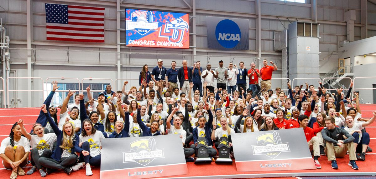 Liberty celebrates its 2020 ASUN Conference men's and women's indoor team championships.