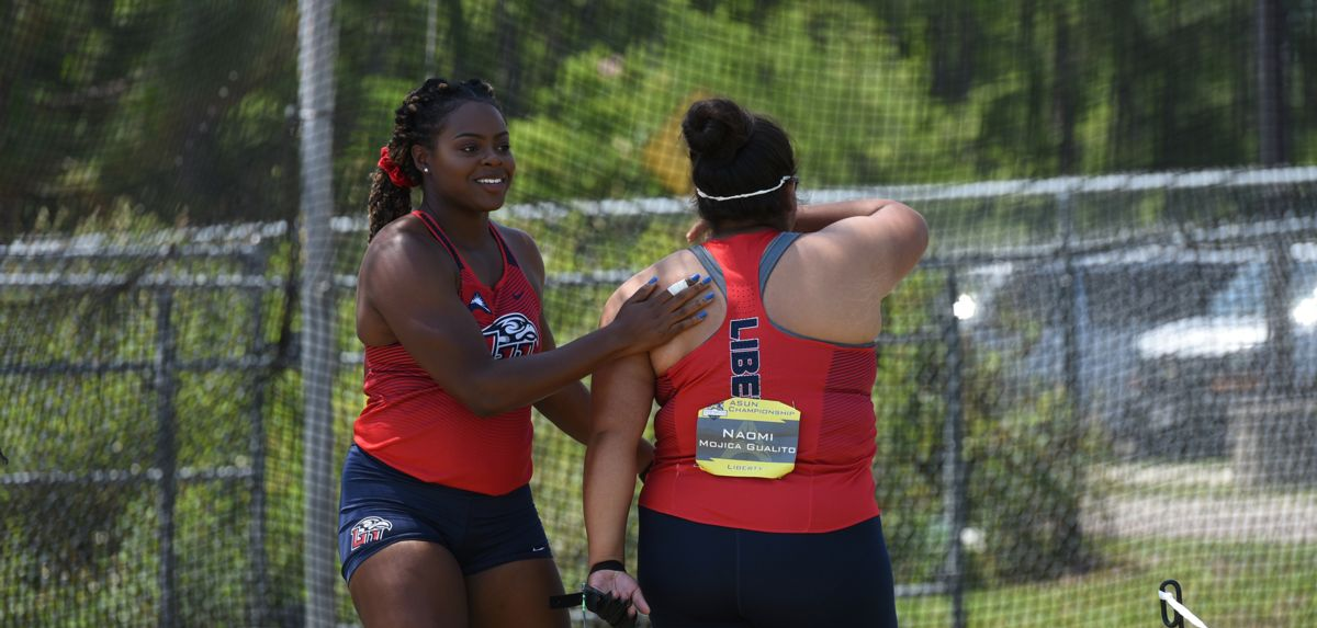 Chelsea Igberaese (left) and Naomi Mojica (right) accounted for two of Liberty's six ASUN event victories on Friday.