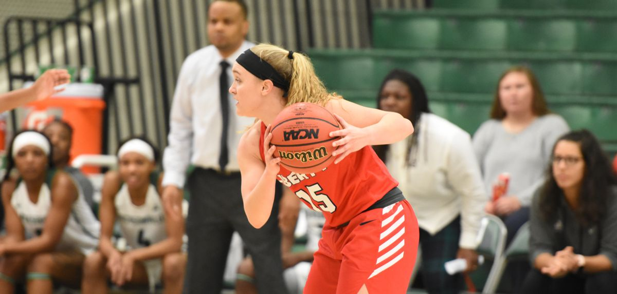 Audrey Clark knocked down a big shot clock buzzer-beating jumper during the final minute of Liberty's 65-59 comeback victory at Jacksonville.