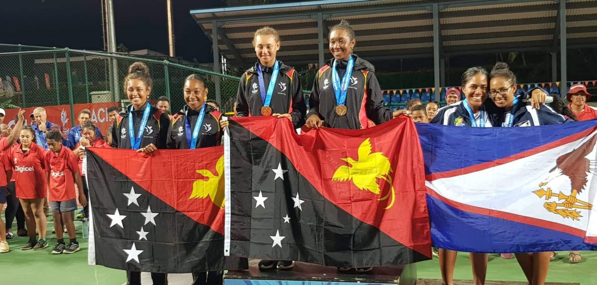 Soli (far right) claimed four bronze medals at the 2019 Pacific Games in Apia, Samoa.