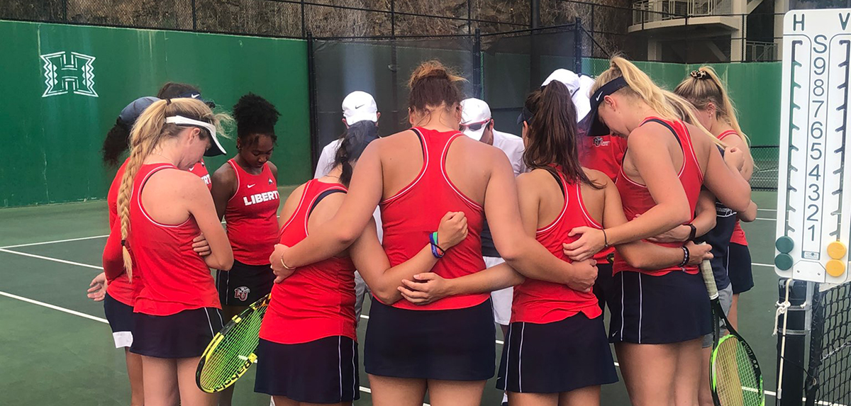 Wednesday's women's tennis match between Liberty and Hawaii has been cancelled due to inclement weather.