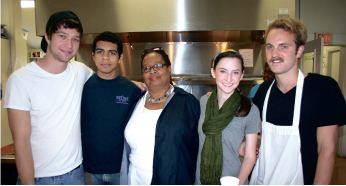 MAKING A DIFFERENCE — Liberty students Josh Davies, Kyle Buggs,  Daily Bread Weekend Manager Jo-Ann Johnson, Hollie Wilson and Clayton Womack volunteer at the Daily Bread.
