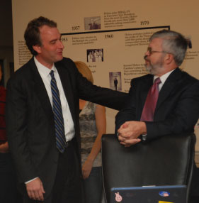 State Senator Robert Hurt (R) makes an impromptu visit to the Helms School of Government.