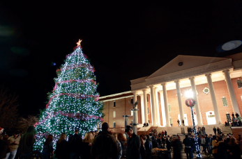 Light Up the Night— Liberty's newest Christmas tradition includes a 30-foot Christmas tree and thousands of Christmas lights in front of DeMoss Hall.