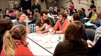 'Namaste' — Students had the opportunity to eat, fellowship and learn about Indian culture at Wednesday's 'Experience Ethnos,' sponsored by the Center for Global Ministry. Photo credit: Ashley Elia