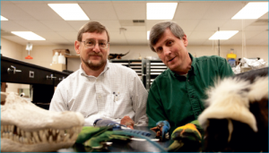 Biology brothers — Professors Dr. Paul and Gene Sattler allow their Christian faith to color the way they teach students. Photo credit: Ruth Bibby.