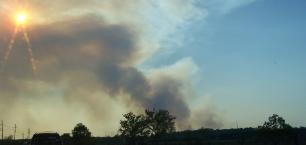 Texas burning — Smoke rises from a large wildfire near Houston. Photo provided
