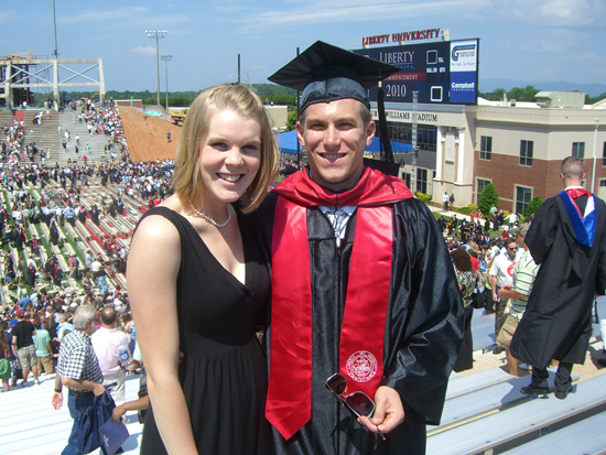 Mitchell and Becky at his graduation from grad school in the spring of 2010. Photo provided