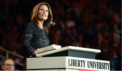 'Comeback kid' — Presidential candidate Michele Bachmann speaks in convocation. Photo credit: Ruth Bibby