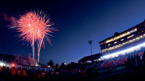 Grand finale — Fans watched as fireworks lit up the sky after the Flames won the football game against Coastal Carolina at Williams Stadium, making a happy ending to a week long celebration of Liberty's 40th Anniversary Homecoming. Photo credit: Ruth Bibby