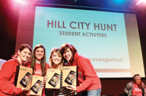Pursuing the prize — First place winners of the  scavenger hunt won Kindle Fires. Photo credit: Alyssa Bockman