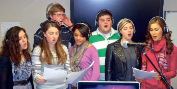 Worshiping together — Students from the Liberty's Center for Worship became the chorus for an upcoming network presentation. Photo provided
