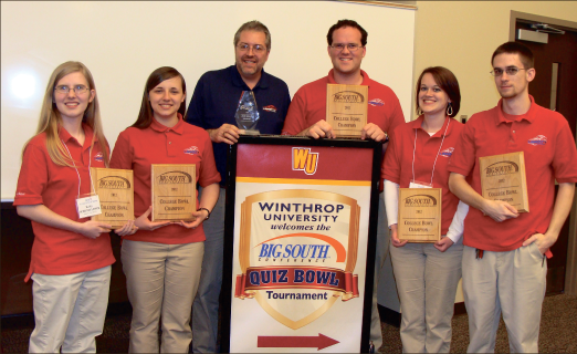 Champions — Liberty University's Quiz Bowl team captured its sixth Big South Championship Saturday, Jan. 28, winning all six games hosted by Winthrop University in Rock Hill, S.C. The team from left to right: Kaity Shondelmyer, Andrea Teachout, Dr. Jim Nutter (coach), Corbin Payne, Catherine Hardy, Jake Rogers (captain). Photo provided