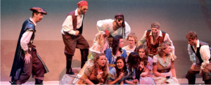 We are the pirates — The classic tale of a group of gentle-hearted pirates opened the spring semester at Liberty's Tower Theater with the Pirates of Penzance. Photo credit: Ruth Bibby