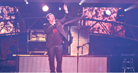 Full house — Royal Tailor (left) and Casting Crowns (right) performed for a sold out Vines Center, pointing the audience to God in an evening of high-energy worship. Photo credit: Ruth Bibby
