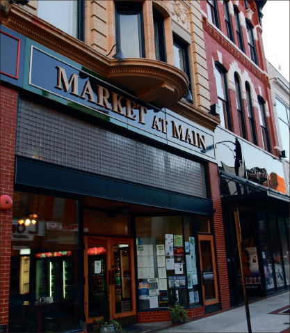 A downtown landmark — Market at Main, which used to be a Woolworth's in the 1900s, is now designed to look like an old school drugstore and provides diners with a relaxed, casual atmosphere. Photo credit: Alyssa Bockman